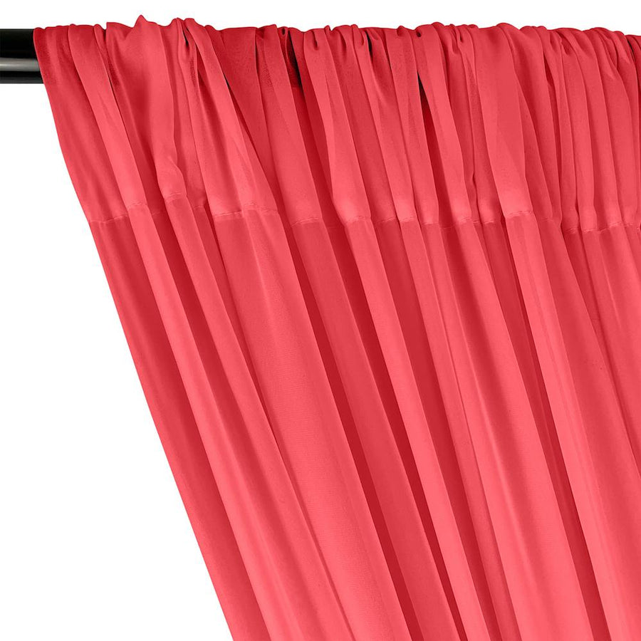 Polyester Chiffon Rod Pocket Curtains - Neon Pink