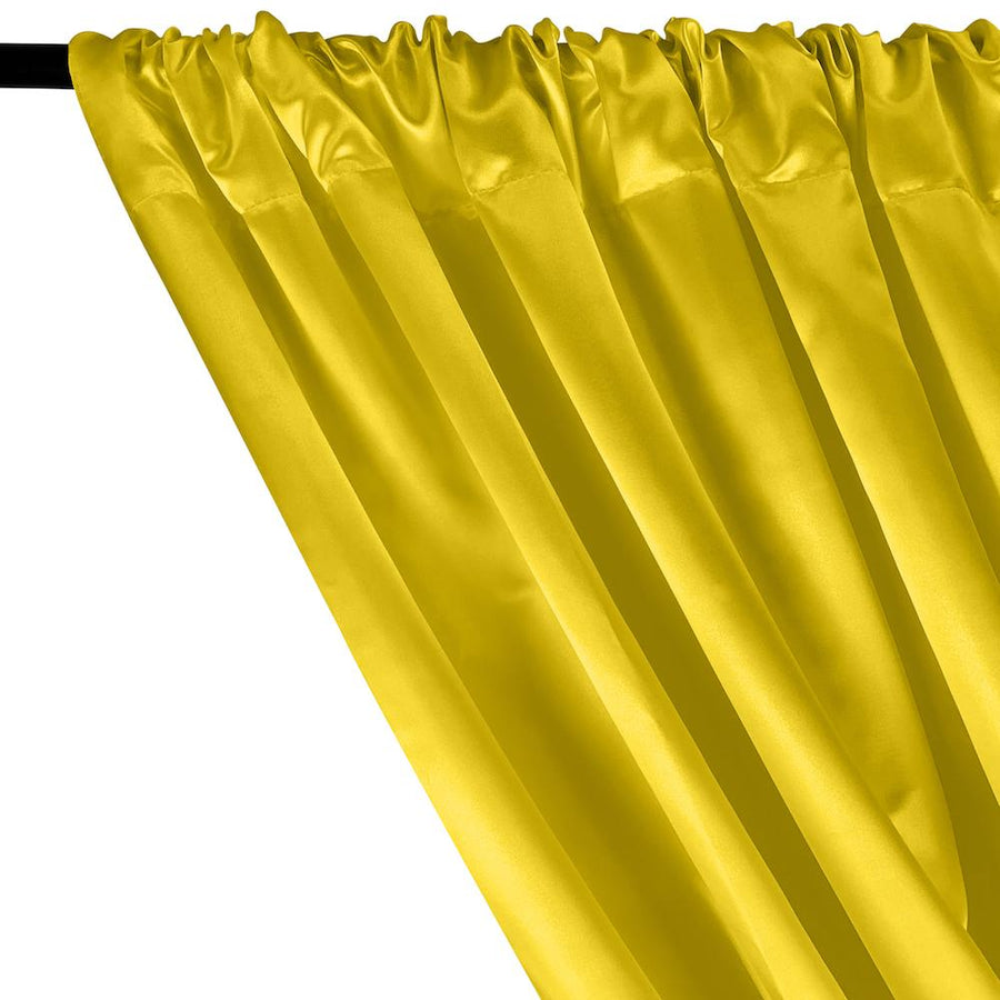 Bridal Satin Rod Pocket Curtains - Neon Yellow