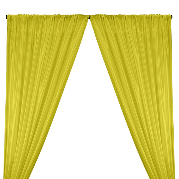 Poly China Silk Lining Rod Pocket Curtains - Neon Yellow
