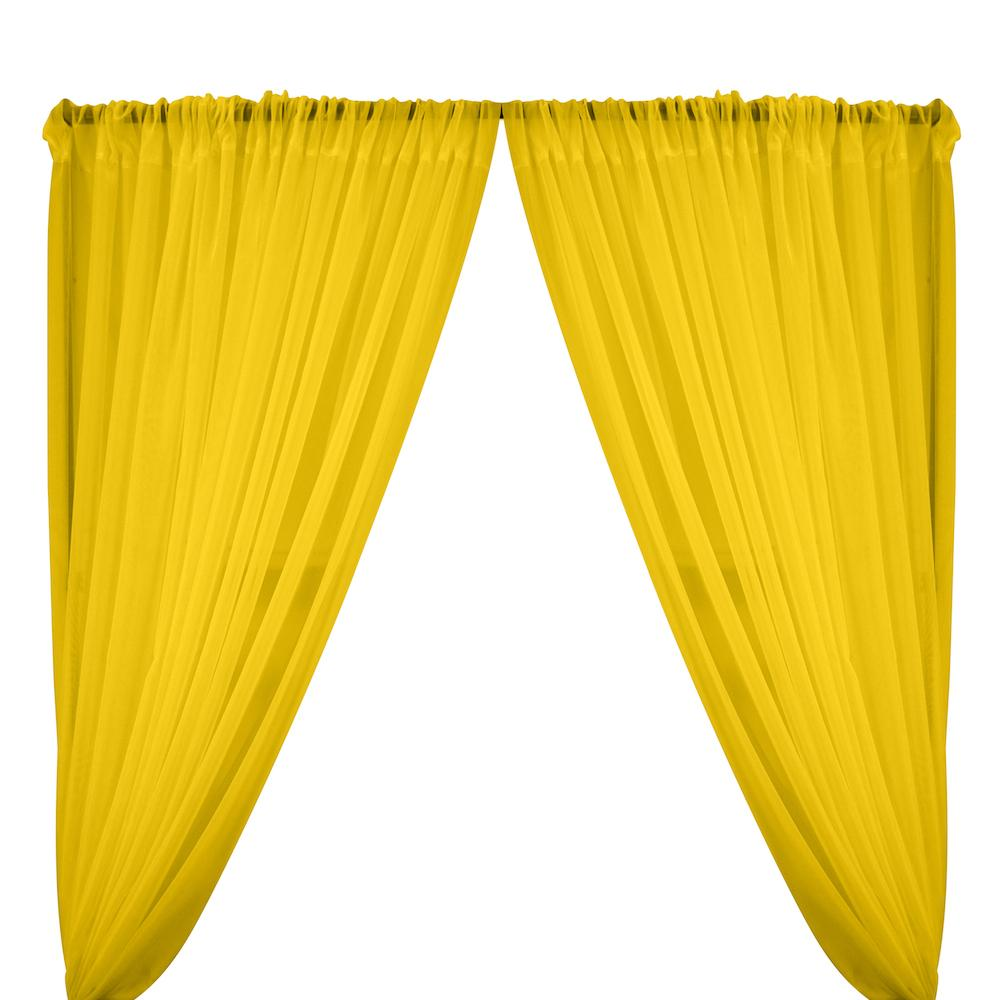 Sheer Voile Rod Pocket Curtains - Neon Yellow
