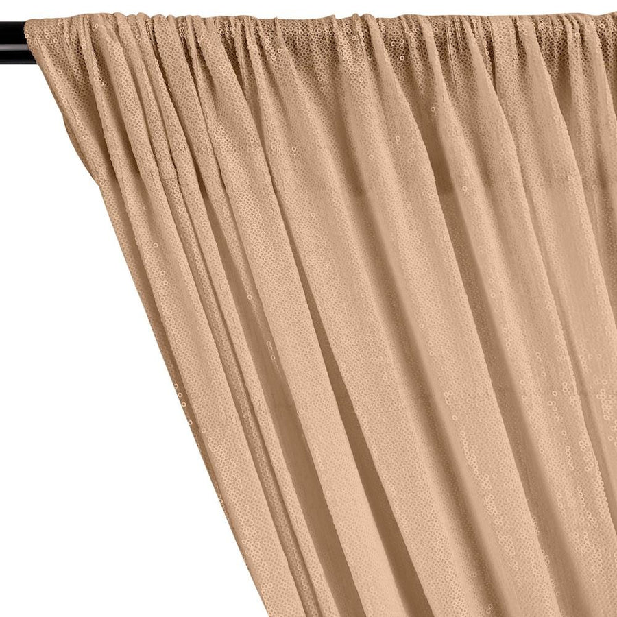 All-Over Micro Sequins Starlight On Stretch Mesh Rod Pocket Curtains - Nude