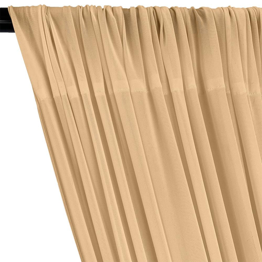 Power Mesh Rod Pocket Curtains - Nude