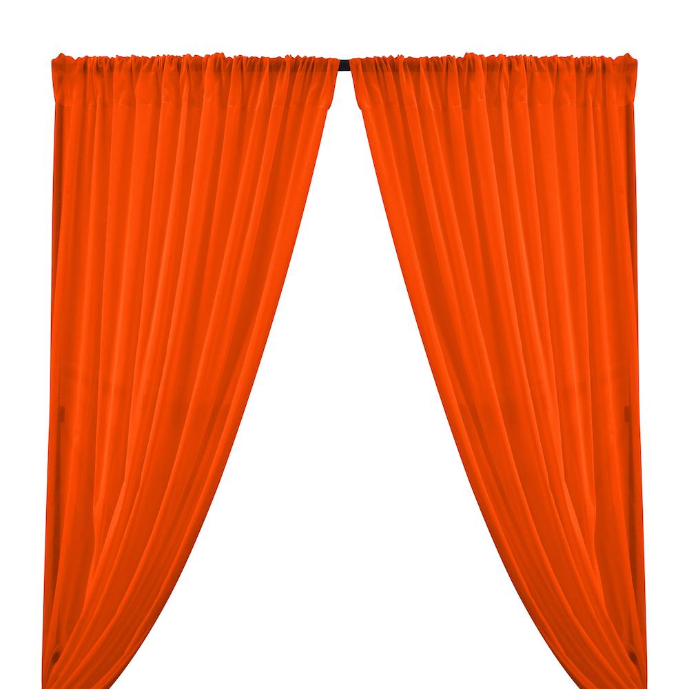 Cotton Voile Rod Pocket Curtains - Orange