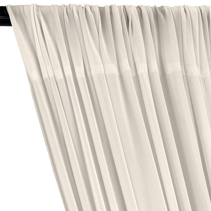 Power Mesh Rod Pocket Curtains - Off White