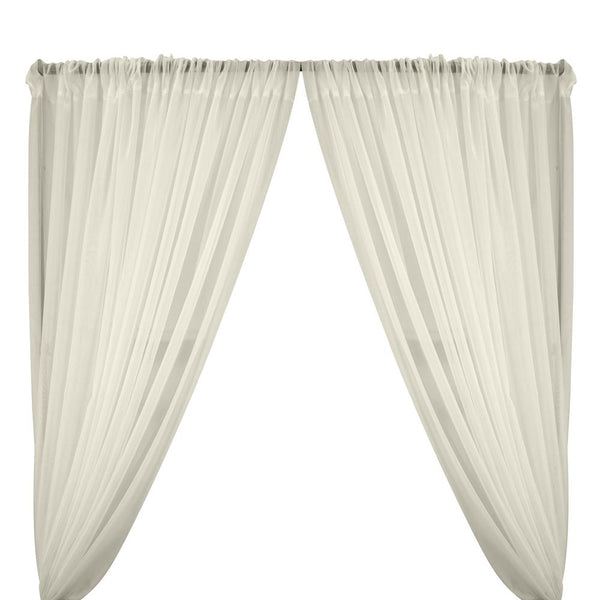 Sheer Voile Rod Pocket Curtains - Off White