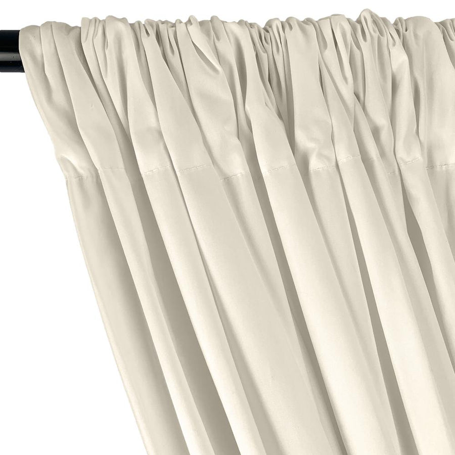 Stretch Broadcloth Rod Pocket Curtains - Off White