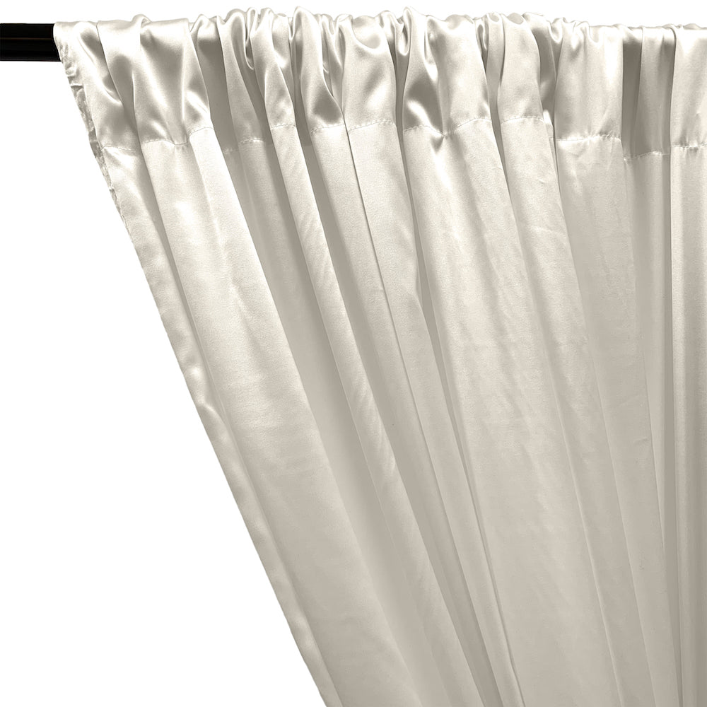 Stretch Charmeuse Satin Rod Pocket Curtains - Off White