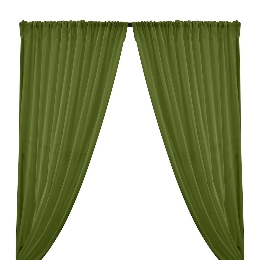 Cotton Voile Rod Pocket Curtains - Olive