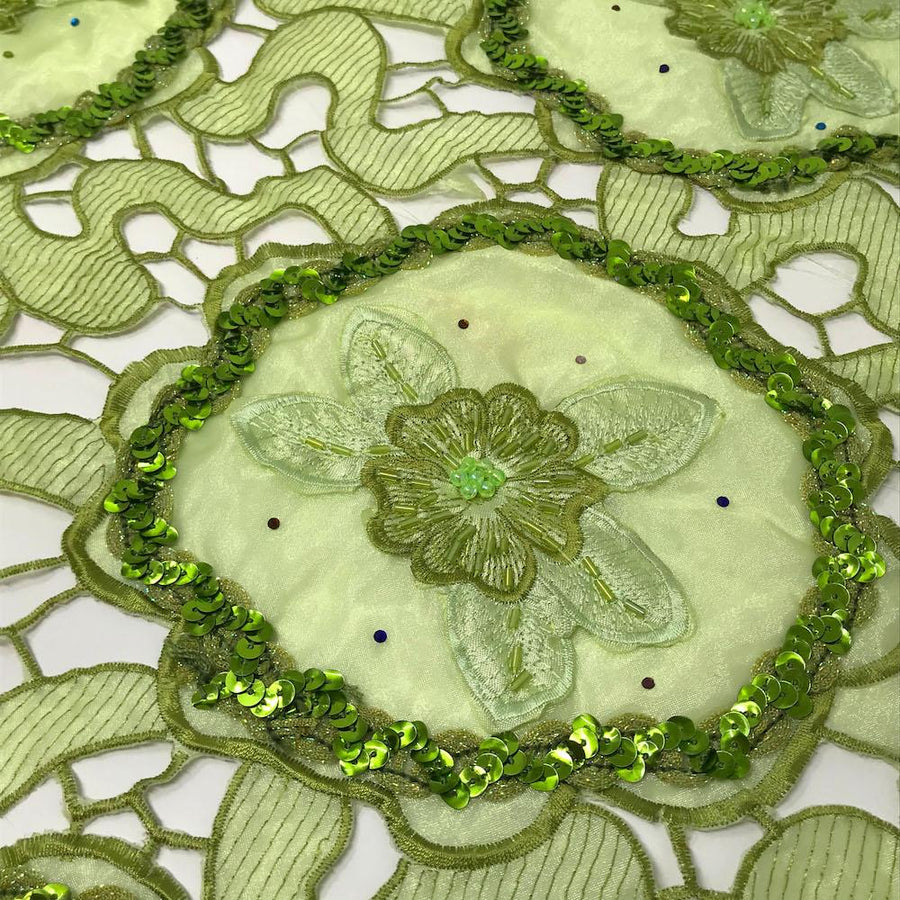 Olive Daffodil Lace with Sequins