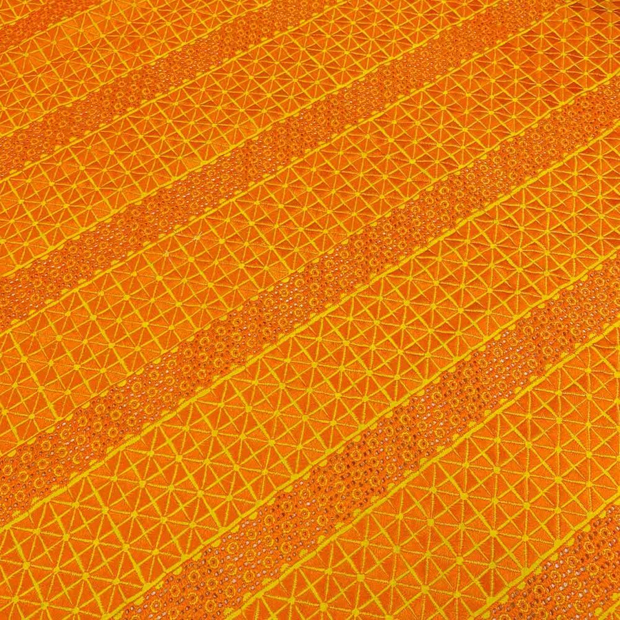 Orange Tile Eyelet Embroidery Lace