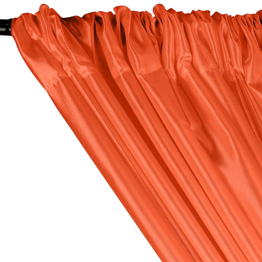 Extra Wide Nylon Taffeta Rod Pocket Curtains - Orange