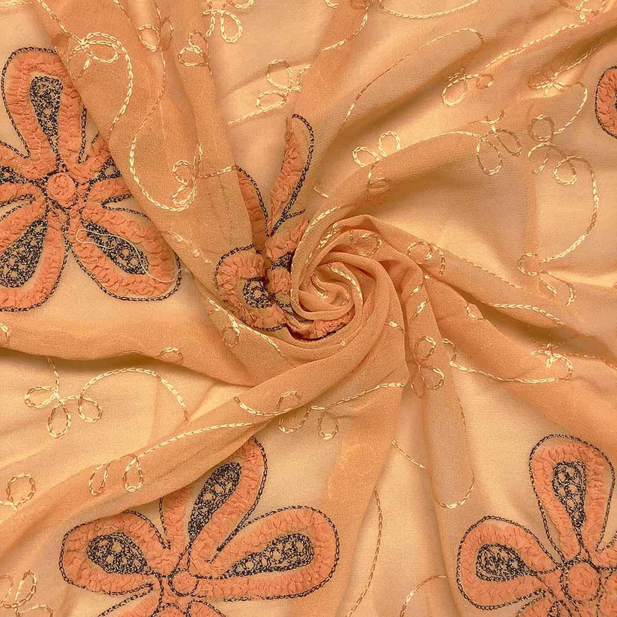 Orange Floral Embroidery on Georgette