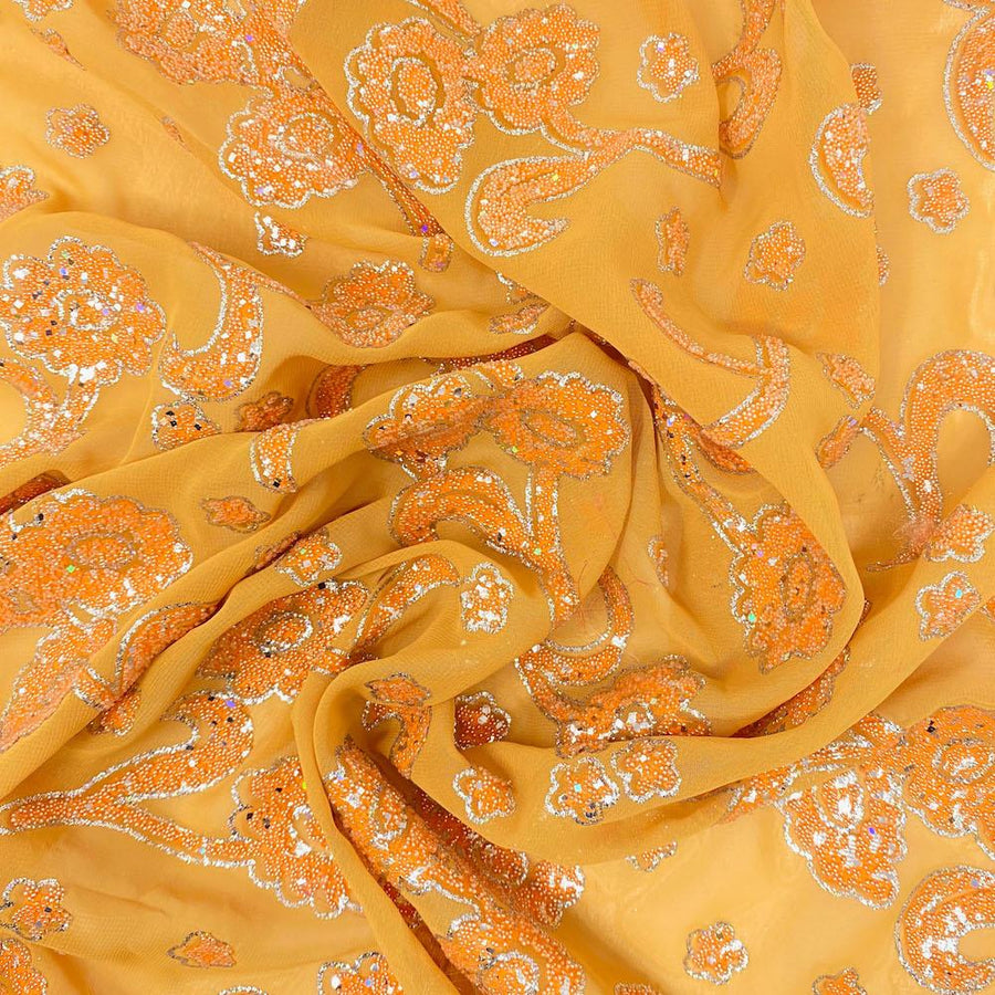 Orange Floral Sequin Embossed Georgette