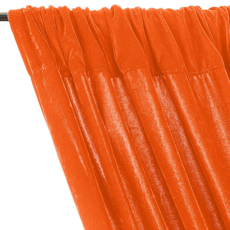 Micro Velvet Rod Pocket Curtains - Orange