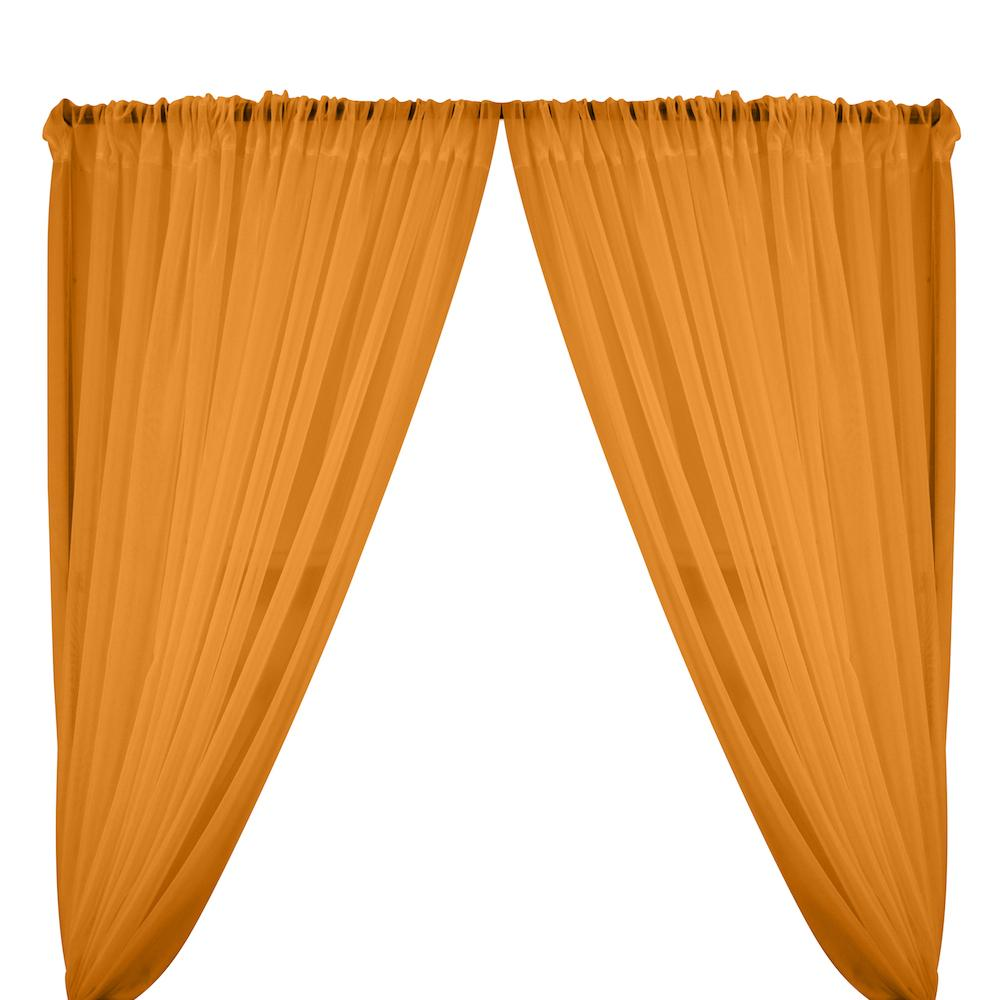 Sheer Voile Rod Pocket Curtains - Orange