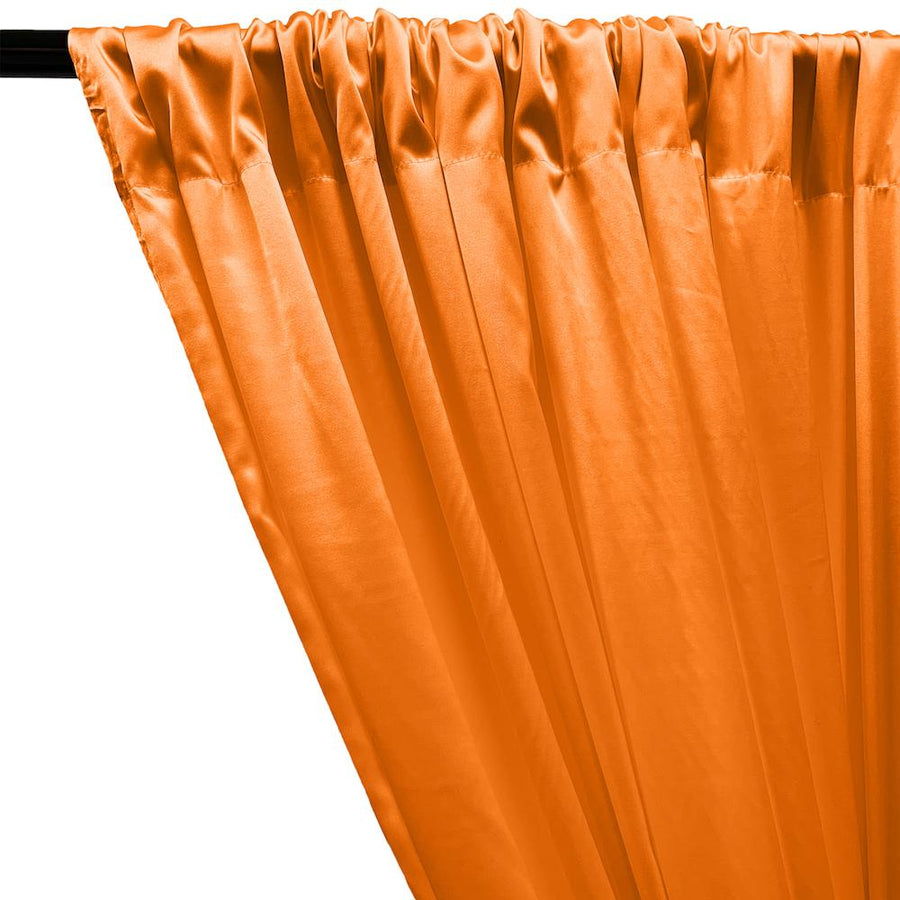 Stretch Charmeuse Satin Rod Pocket Curtains - Orange