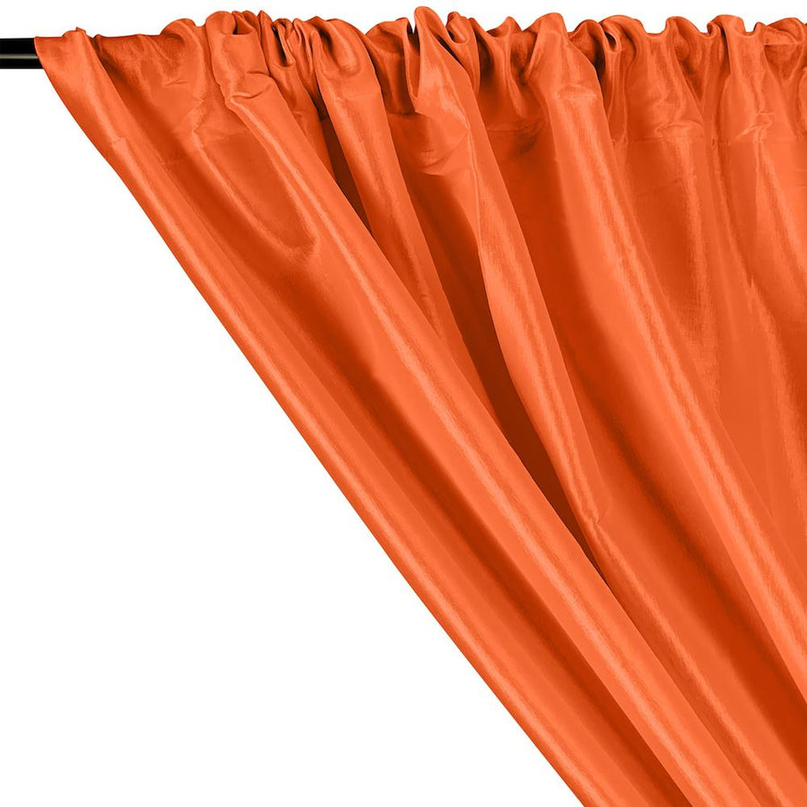 Stretch Taffeta Rod Pocket Curtains - Orange