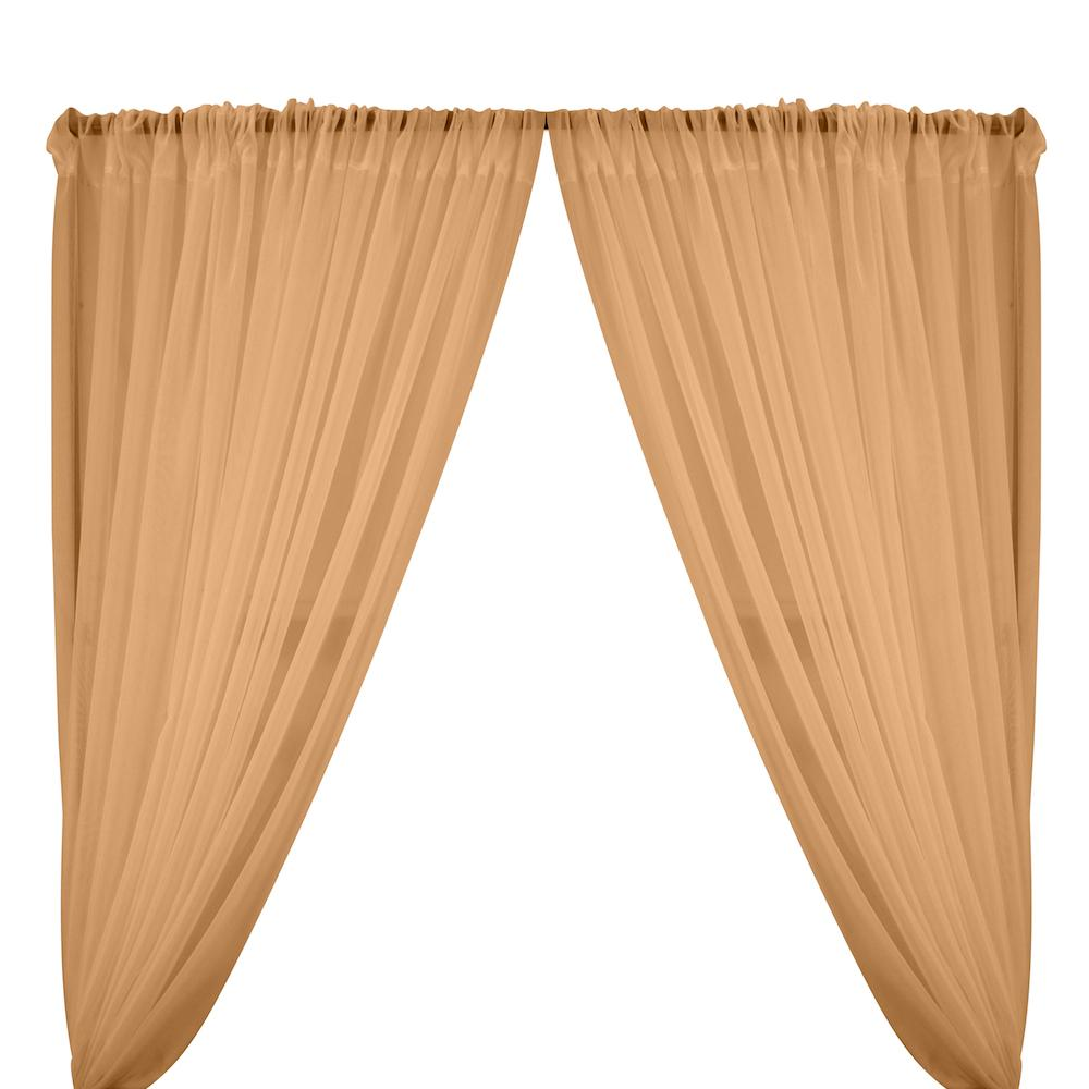 Sheer Voile Rod Pocket Curtains - Ovaltine