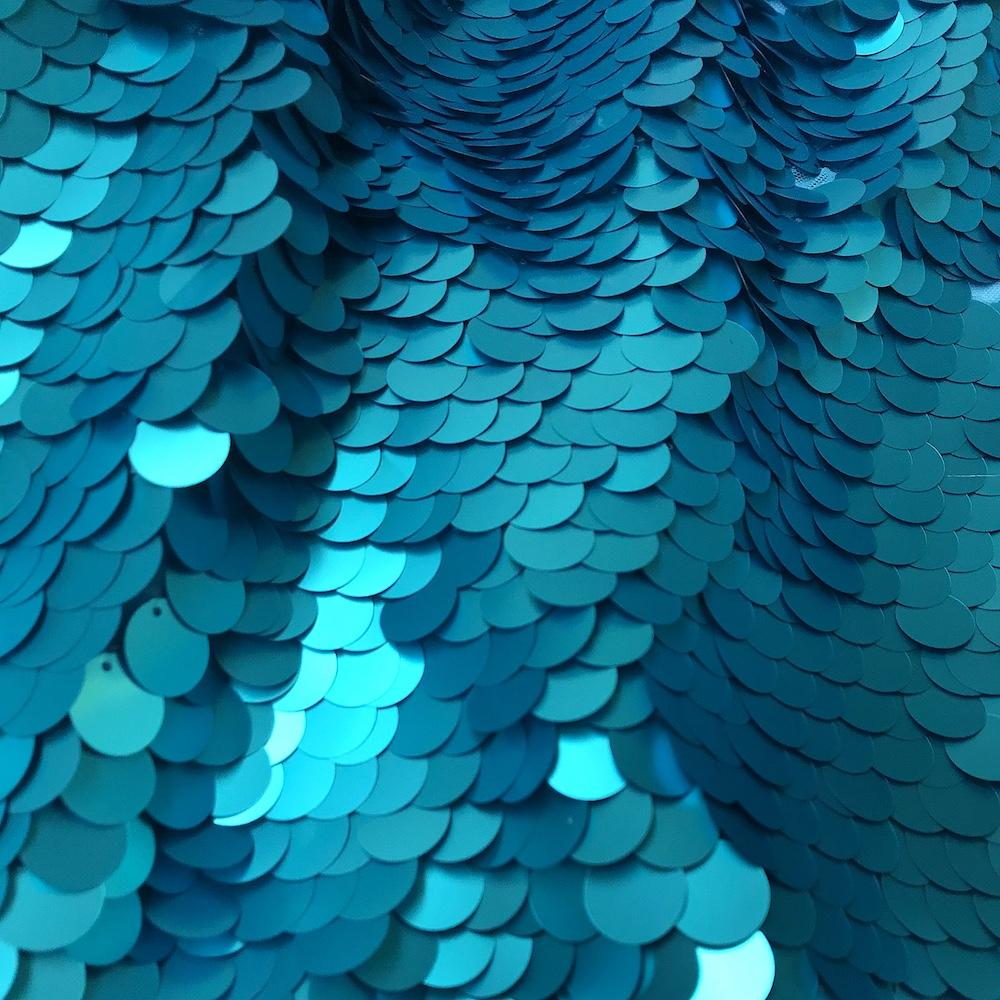 GREEN TEAL Luxury Sequin Dance Wear Stretch Lycra Fabric Material