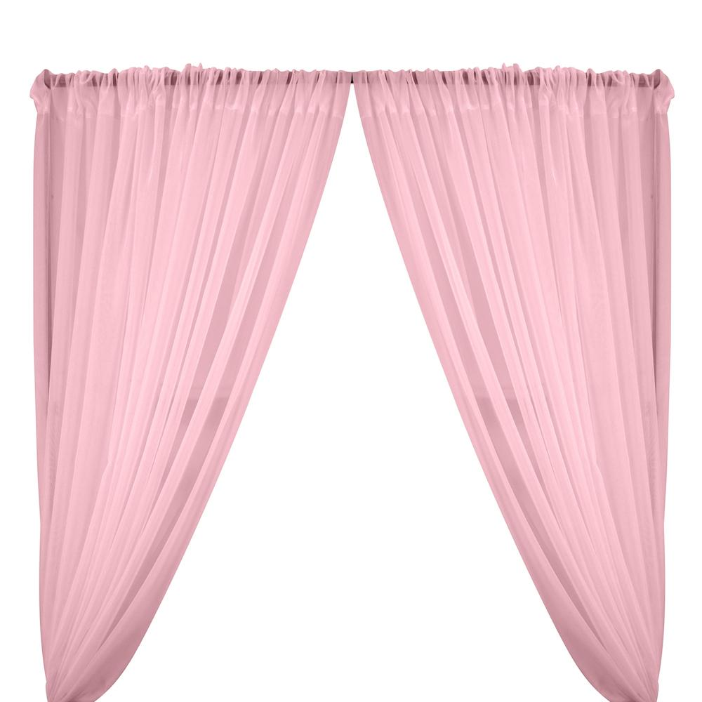 Sheer Voile Rod Pocket Curtains - Pale Pink