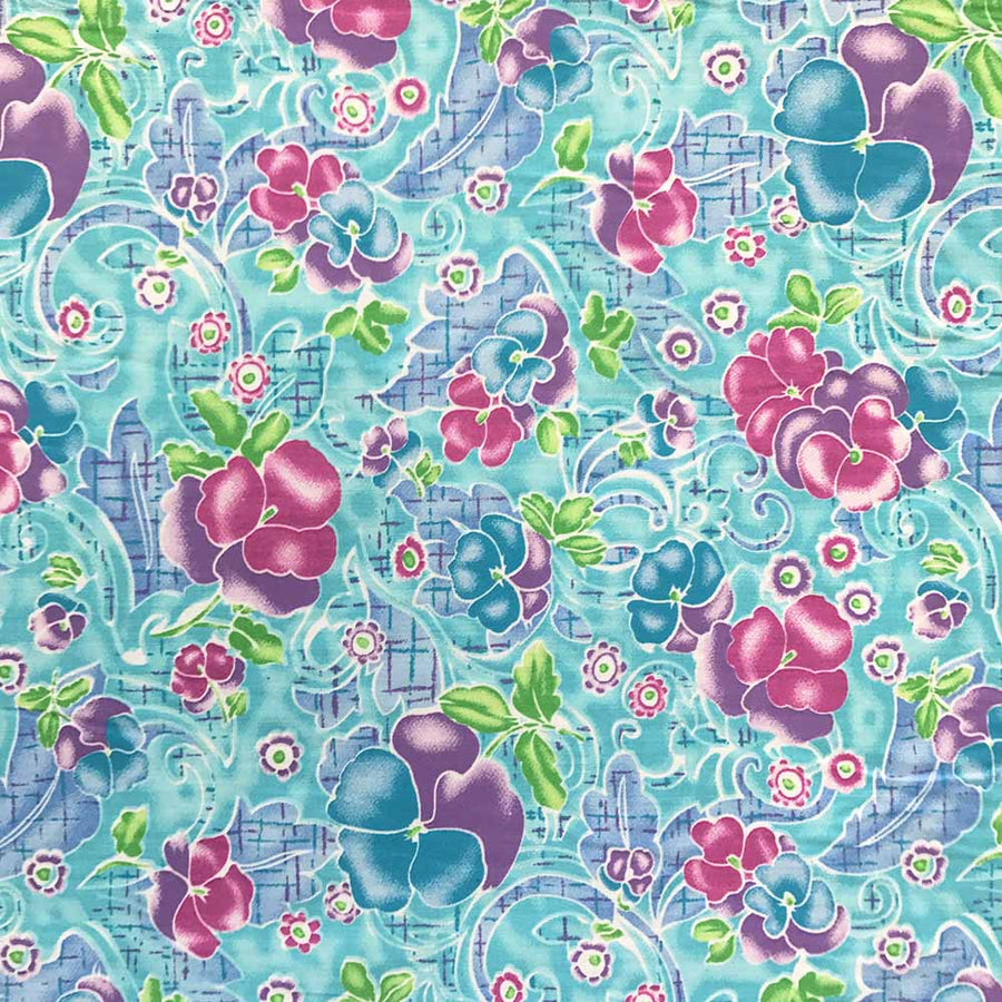 Pansy Swirl Turquoise Print Broadcloth