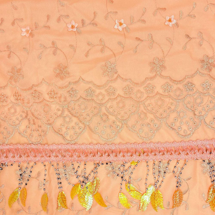 Peach Daisy Embroidered Lace with Beaded Feathers