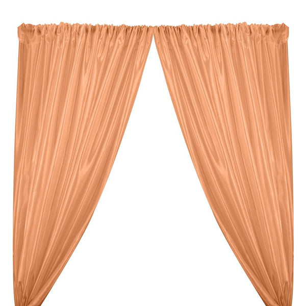 Extra Wide Nylon Taffeta Rod Pocket Curtains - Peach