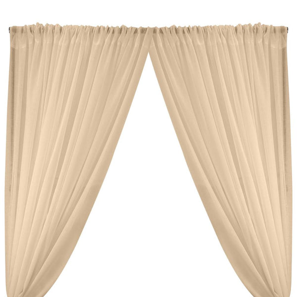Gasa Sheer Voile Rod Pocket Curtains - Peach