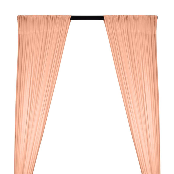 Power Mesh Rod Pocket Curtains - Peach