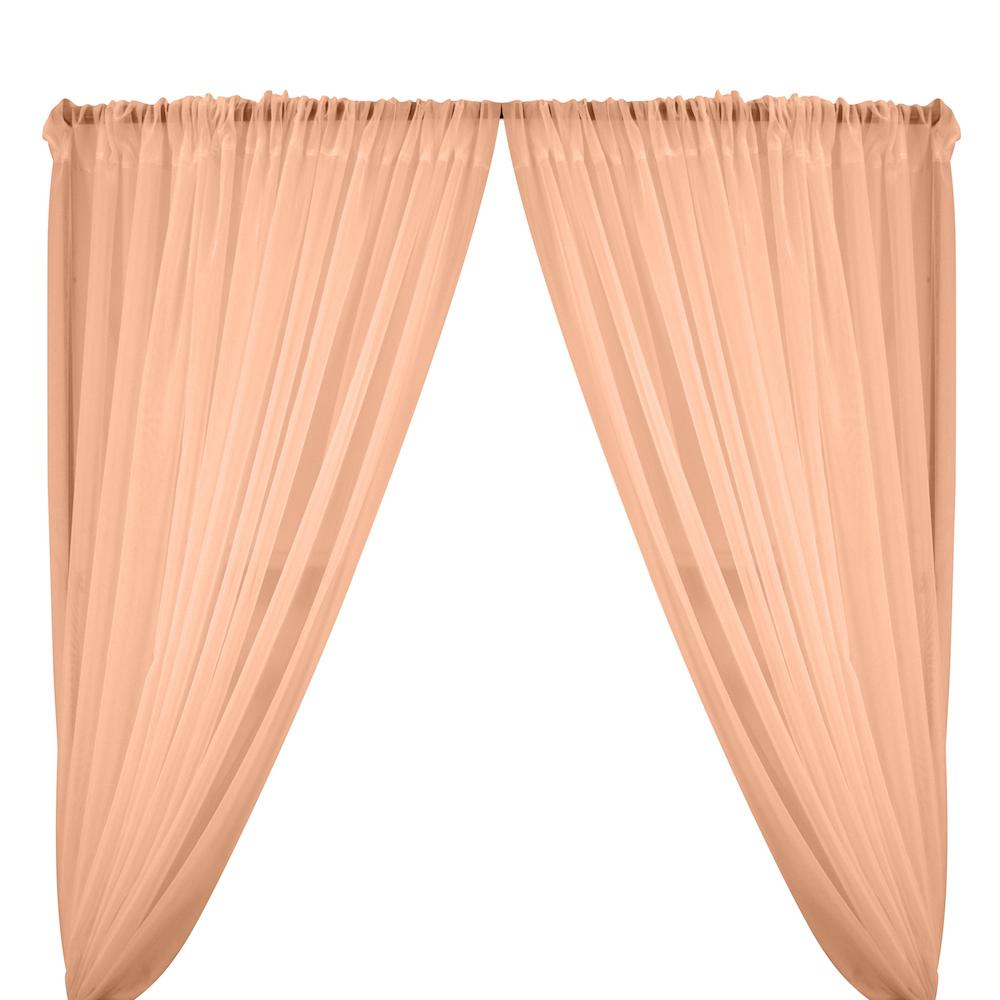 Sheer Voile Rod Pocket Curtains - Peach