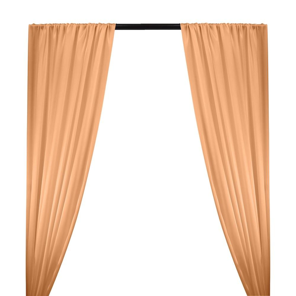 Silk Charmeuse Rod Pocket Curtains - Peach