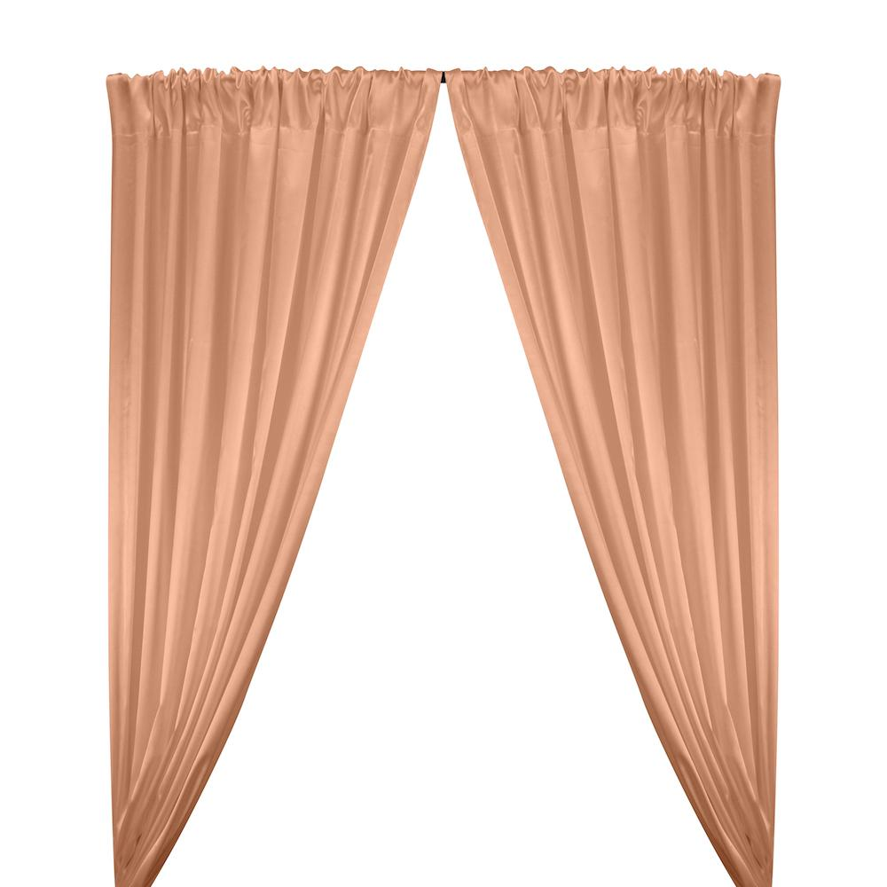 Stretch Charmeuse Satin Rod Pocket Curtains - Peach