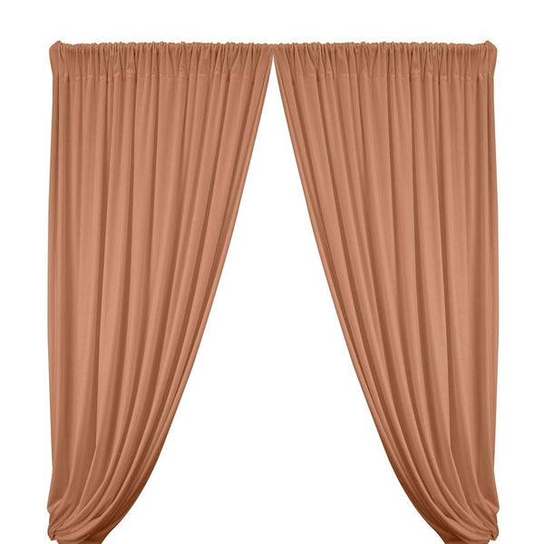 Stretch Velvet Rod Pocket Curtains - Peach
