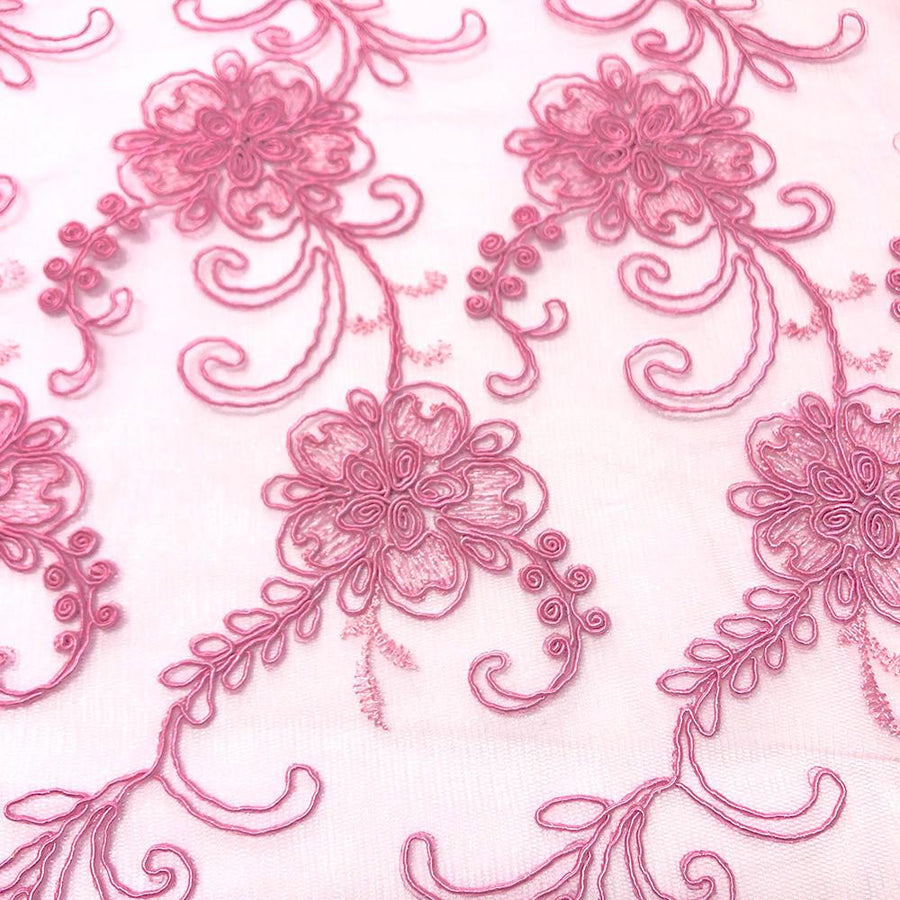 Pink Bridal Corded Lace on Mesh