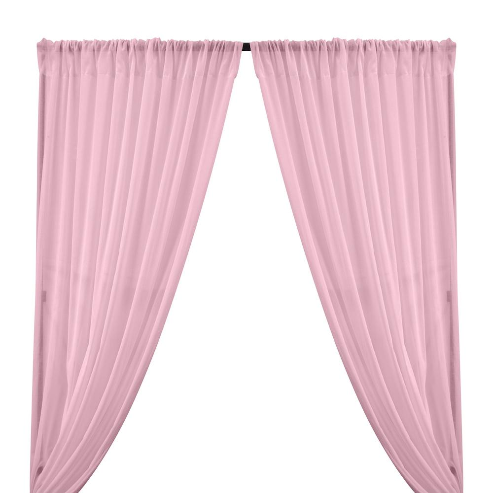 Cotton Voile Rod Pocket Curtains - Pink