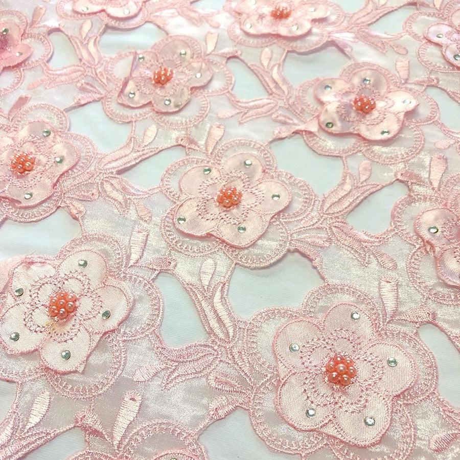 Pink Floral Embroidery on Pink Organza Lace