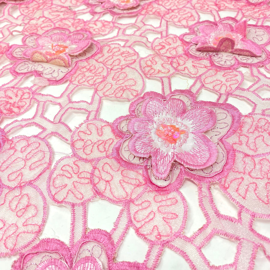 Pink Orchid Beaded Patch w/ Sequins on Sparkled Mesh