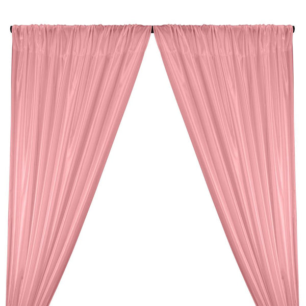 Poly China Silk Lining Rod Pocket Curtains - Pink