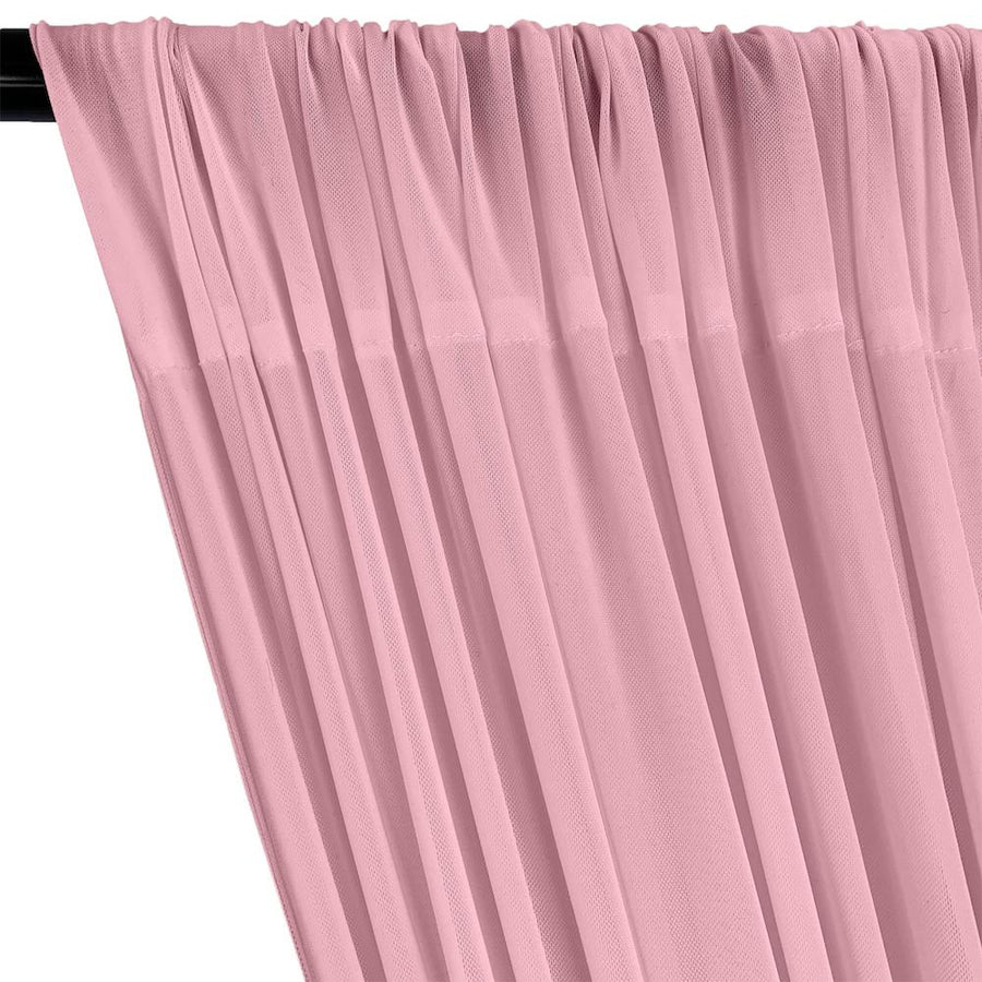 Power Mesh Rod Pocket Curtains - Pink
