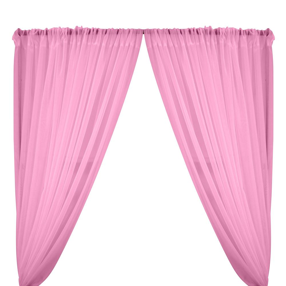 Sheer Voile Rod Pocket Curtains - Pink