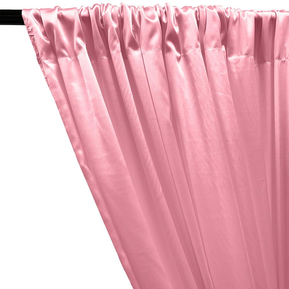 Stretch Charmeuse Satin Rod Pocket Curtains - Pink