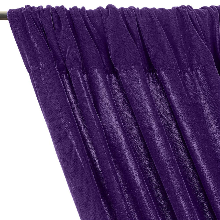Micro Velvet Rod Pocket Curtains - Plum