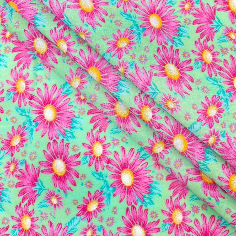Mint Aster Print Broadcloth