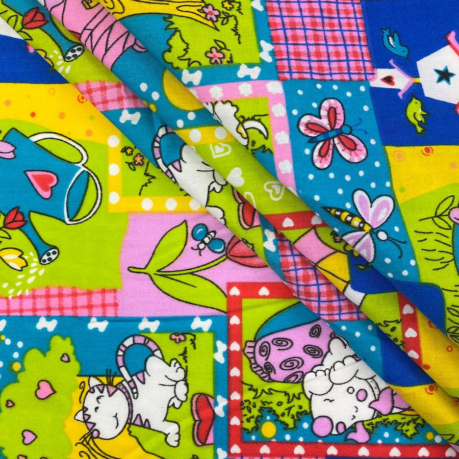 Multi-Color Dreamy Cats & Dogs Print Broadcloth