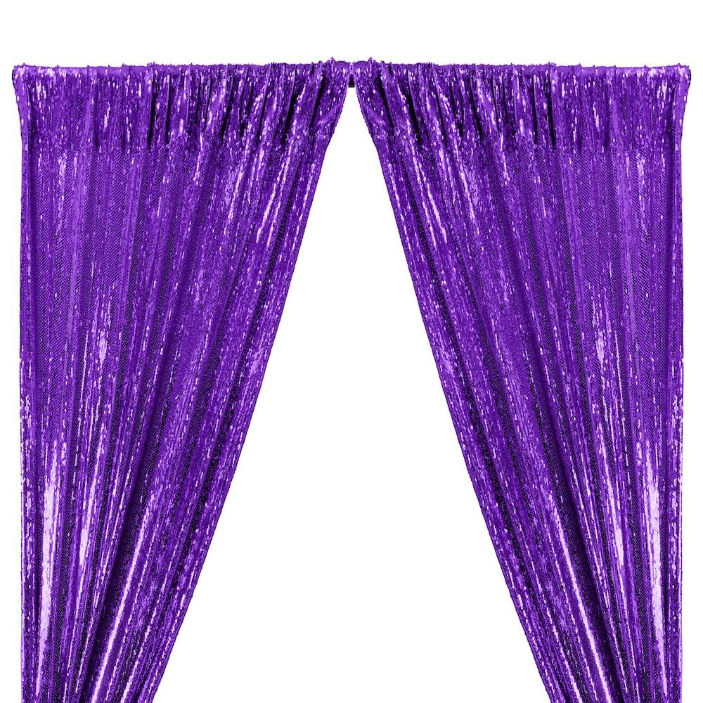 All-Over Sequins Mermaid Scale on Stretch Mesh Rod Pocket Curtains - Purple