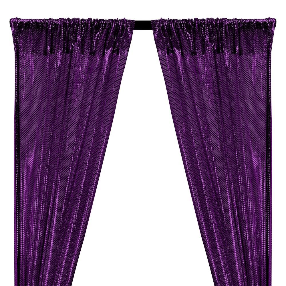 American Trans Knit Sequins Rod Pocket Curtains - Purple