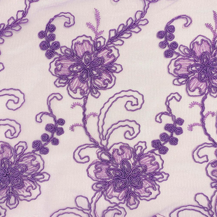 Purple Bridal Corded Lace on Mesh