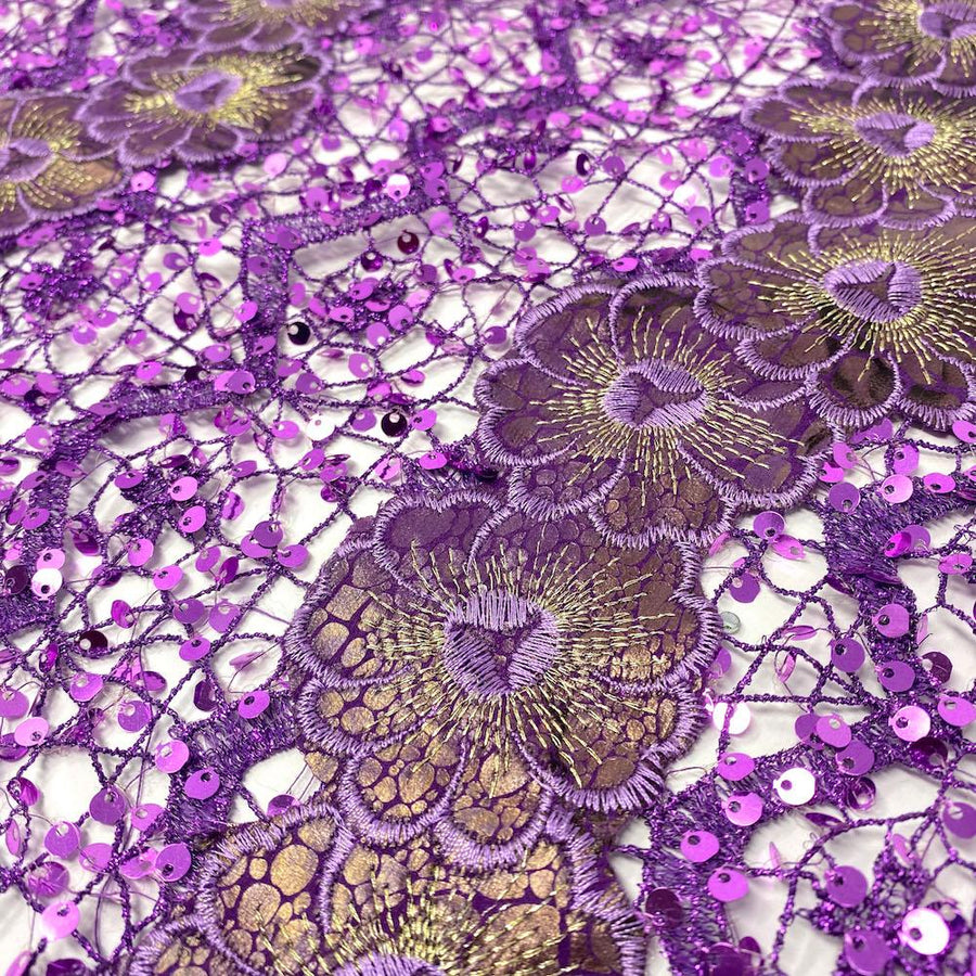 Purple Daisy Snake Printed Metallic Chemical Lace