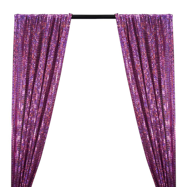 Hologram 8mm Square Sequins Rod Pocket Curtains - Purple