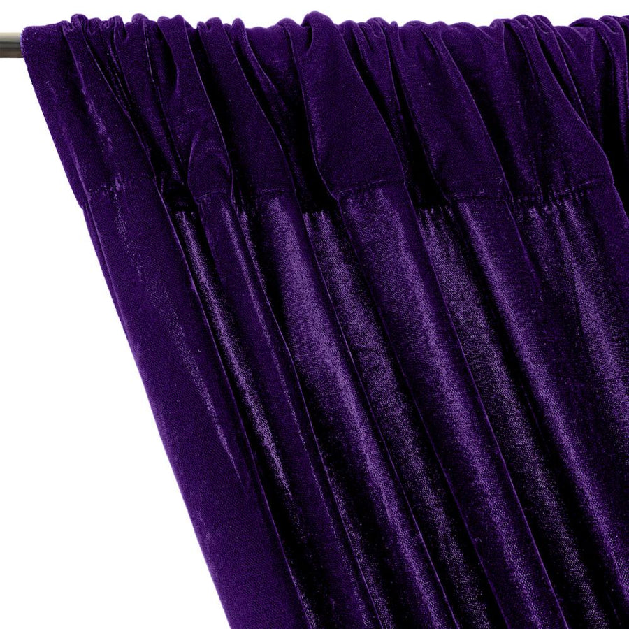 Micro Velvet Rod Pocket Curtains - Purple